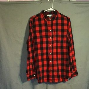OLD NAVY women's button down top sz XL  blk & red